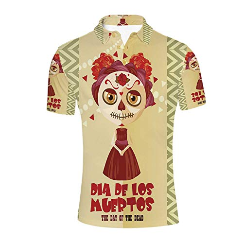 Day of The Dead Decor Durable Polo Shirt,Spanish Dia de Los Muertos Print Girl with Gothic Makeup for Men,M ()