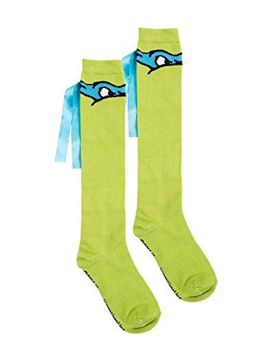 [TMNT Knee High Ribbon Socks (Blue (Leo))] (Ninja Turtle Blue)