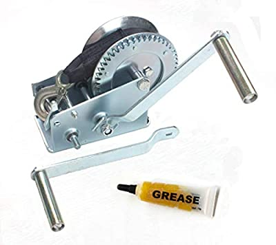 AC-DK Hand Gear Winch Come with 2 Crank Handles and Gear Gease- More Available Models 800lbs 1200lbs 1600lbs 2500lbs 3500lbs with Strap or Cable for Trailers Boats and Trucks