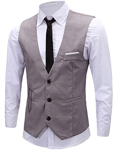 KIMIST Men's Formal Dress Business Slim Fit Sleeveless Jacket Vest Waistcoat (Medium, Grey) (Shirts Tuxedo Vests)