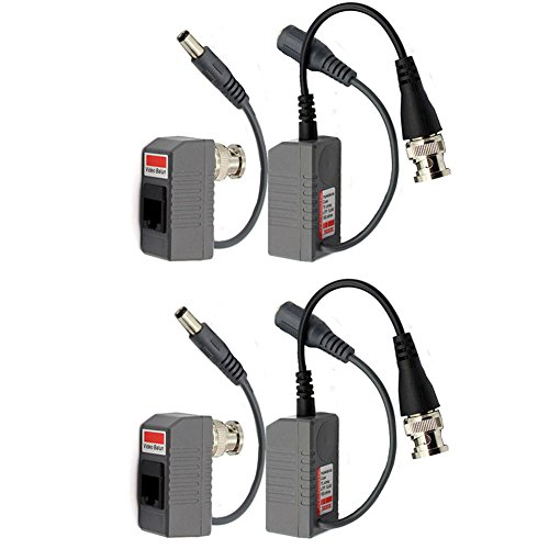 BNC to RJ45 CAT5 Cable Video + Power Balun Connector for CCTV Camera 2 Pairs by Generic