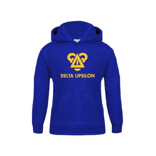 CollegeFanGear Delta Upsilon Youth Royal Fleece Hoodie Badge Delta Upsilon Stacked