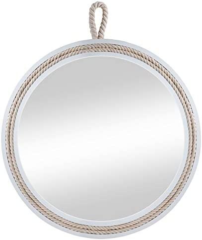 Decorative Round Hanging Wall Mirror, White Wooden Frame Mirror with Rope Loop for Bathrooms Bedrooms Dressers and Antique Theme D cor,19.7 Diameter
