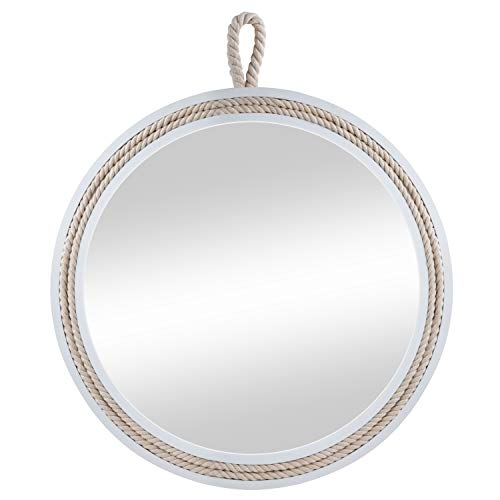 Decorative Round Hanging Wall Mirror, White Wooden Frame Mirror with Rope Loop -