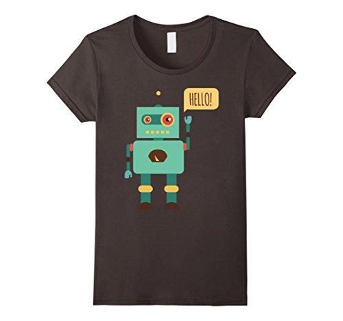 Womens HELLO! Robot Cute Funny Nice T-Shirt Small Asphalt