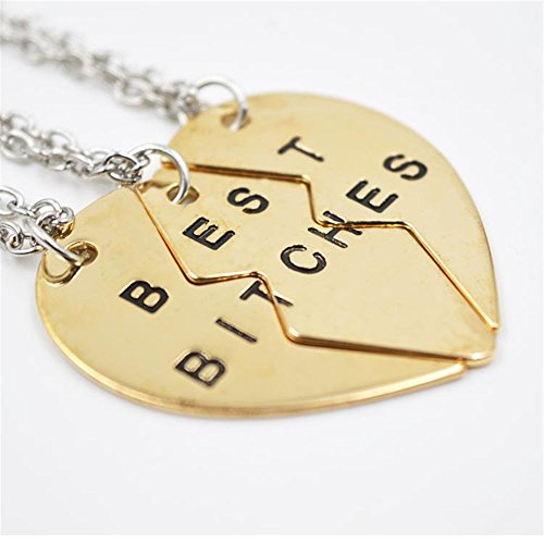 Ximei Best Friend Forever BFF Best Bitches Split Puzzle Heart Pendant Couple Necklace (Gold Tone & 3 (2 Person Costume Cheap)