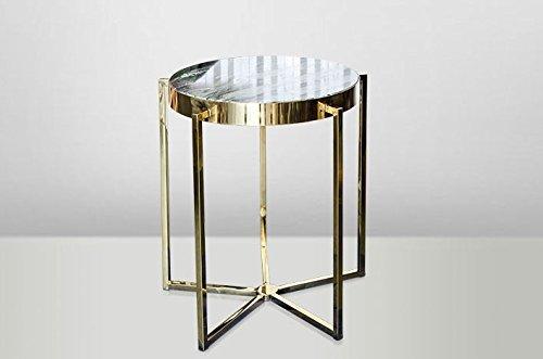 Casa Padrino Art Deco Beistelltisch Gold Metall / Marmor 65 x 65 cm- Jugendstil Tisch - Möbel Blumentisch