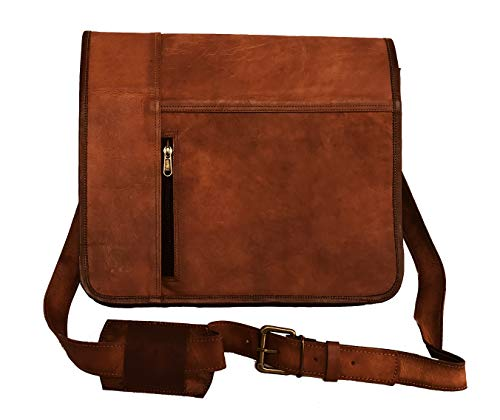 Leather Laptop Messenger Bag Vintage Briefcase Satchel for Men and Women- 16 Inch by Vintage Couture (Light Brown) ()