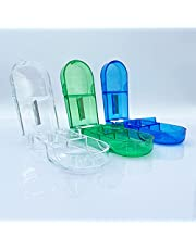 Tablet Dividers, Pack van 3 Pill Dividers, Medische Dividers voor grote en kleine tablets, Medische Divider met Opbergcompartiment, Exact Pills (Blauw + Groen + Wit)