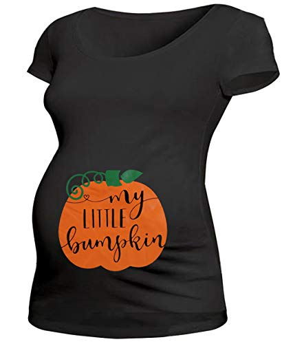Maternity Halloween Pumpkin Short Sleeve T Shirt Funny Pregnancy Tee for Expecting Mothers Size M (Black-1) -
