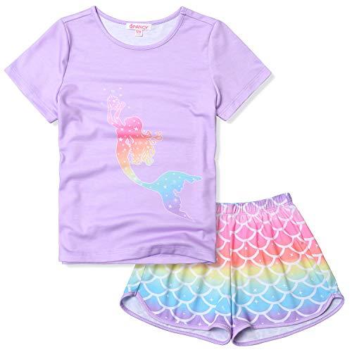 Girls Mermaid Pjs Purple Pajama Sets Short Sleeve Cotton Sleepwear Size 6 7]()