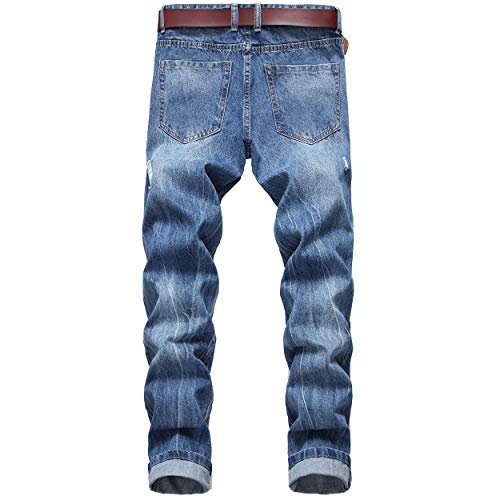 DANT BULUN Men's Ripped Distressed Destroyed Slim Fit Straight Leg Denim Jeans