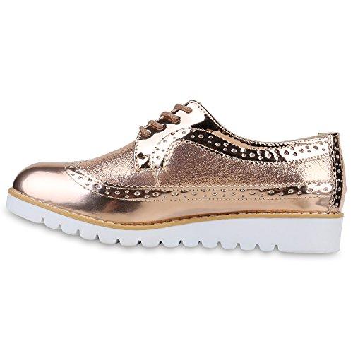 Stiefelparadies - Zapatos de cordones de sintético, tela para mujer Rose Gold