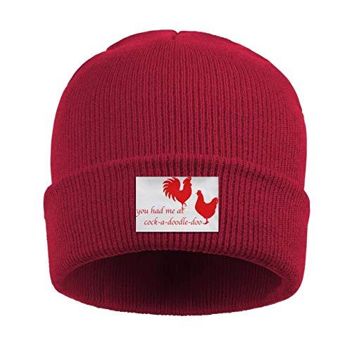 (Hyduns Unisex Cuffed Rooster & Hen Cock-A-Doodle-Doo Knit Beanie Cap Skull Cap Hats)
