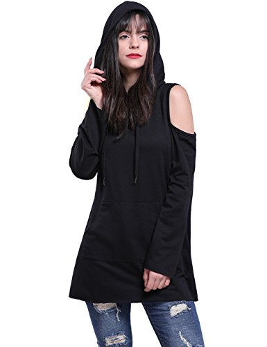 Fancyqube Women's Sexy Long Sleeve Cold Shoulder Tops Kangaroo Pocket Long Hoodies Sweatshirt Black M (Jumper Black Long)