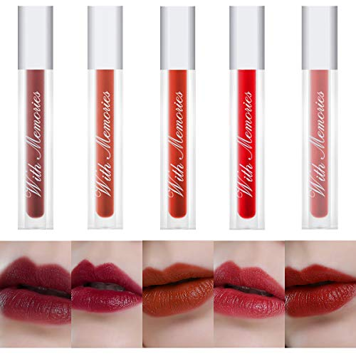 With Memories -PROFESSIONAL MAKEUP Soft Matte Lip Cream Long Lasting High-Pigmented Cream Velvet Lip Gloss (Style A-5Pack)
