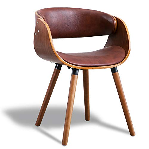 Living Room Chair Dining Chair Modern Living Accent Chair in PVC Leather Wrap Around Back and Walnut Wood Finish(Brown)
