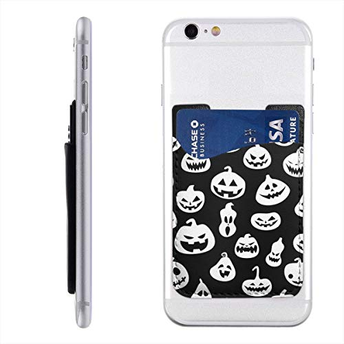 (Halloween with Pumpkins Cell Phone Card Holder, Stick On Wallet for Back of Phone, 3M Adhesive Ultra Slim Phone Pocket ID Credit Card Holder Sleeves Pouch Compatible All)
