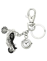 JAS Unisex Novelty Belt Fob/Keychain Watch Motorcycle Silver Tone