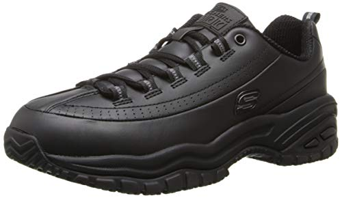Skechers for Work Women's Soft Stride-Softie Lace-Up, Black, 7 D - Wide