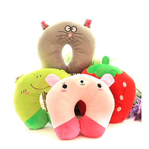 SHIPING STORY-U-Shaped Plush Pillow Travel Pillow Cartoon Animal Car Home Office Headrest Cute (Boudoir Pillow Gusseted)