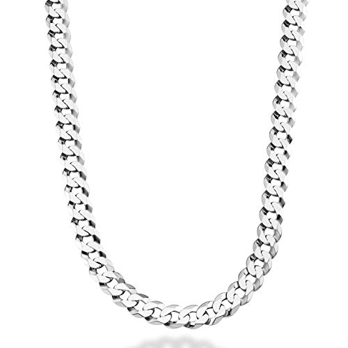 (MiaBella Solid Sterling Silver Italian 9mm Solid Diamond-Cut Cuban Link Curb Chain Necklace for Men, 18