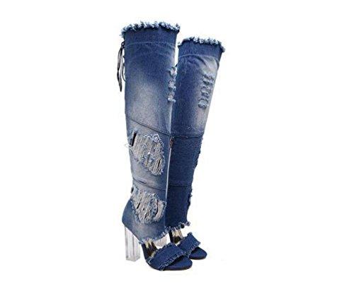 Las sandalias del vaquero atan para arriba encajonando el talón grueso transparente del tacón alto del tacón del talón de 11 cm que el alto femenino ocasional sube el tamaño 34-40 de la UE de las bota days blue