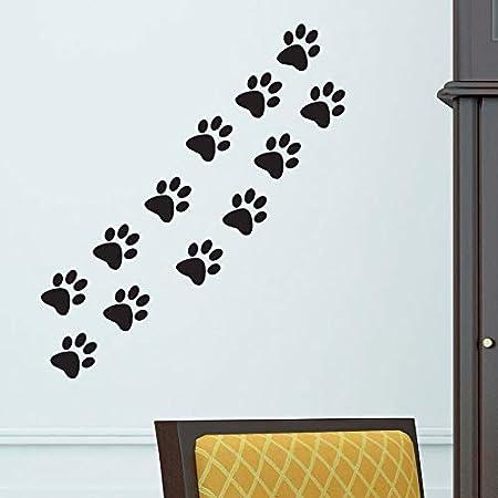Hila/ï Funny Dog Patte de Chat Poster pour Chambre denfant Home Autocollant Stickers muraux DIY Porte darmoire Nourriture Plat Bol de Cuisine Autocollant de Voiture D/écor