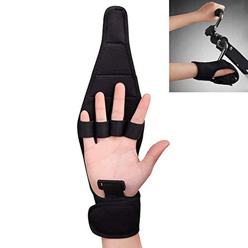(Finger Splint Brace Ability,Finger Anti-Spasticity Rehabilitation Auxiliary Training Gloves for Stroke Hemiplegia Patient and Athlete Finger Rehabilitation,Black,1pcs)
