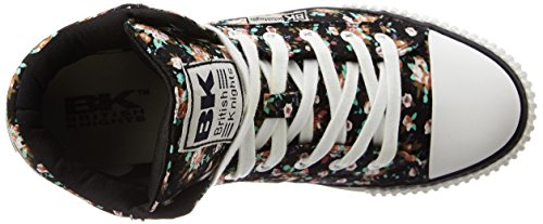 British Knights Dee - Zapatillas Unisex Niños Negro - Schwarz (Black/Red Flower 02)