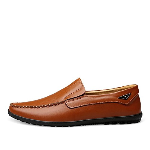 on Brown uomo leggeri slip 39 e EU Mocassini Light traspiranti Dimensione Slipper casual foderati Color da Meimei pelle Mocassini in shoes zq4wtTSt