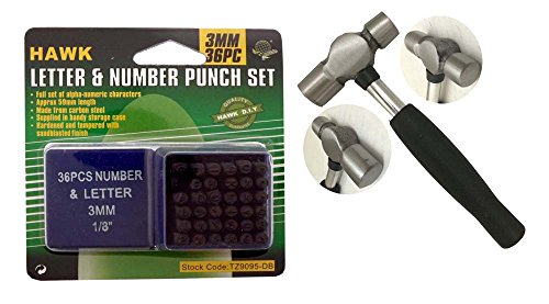 Deluxe Metal Stamping Kit - Number & Capital Letter Punch Set with Ball Pein Hammer (Hammer Letter)
