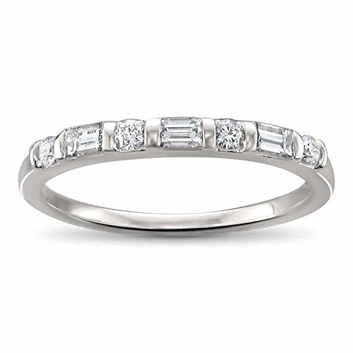 14k White Gold Baguette & Round Diamond Bridal Wedding Band Ring (1/3 cttw, H I, SI1 SI2)