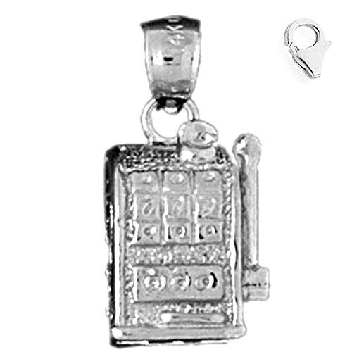Jewels Obsession Slot Machine Charm | 14K White Gold Slot Machine Charm Pendant - 21mm
