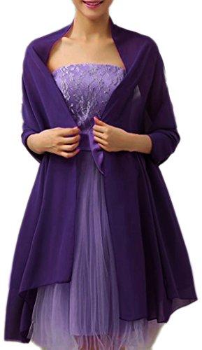 (Alivila.Y Fashion Womens Bridal Evening Scarf Shawl-Dark Purple Chiffon)