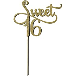 Shxstore Gold Monogram Sweet 16 Cake Topper, 16th Birthday Anniversary Cake Topper For Sweet 16 Party Themes Decoration Supplies