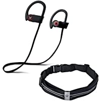 Bluetooth headphones for running, cordless earbuds, waterproof IPX7 rated,noise cancelling earbuds wireless sports headphones with mic,ear hook headphones,workout earbuds + BONUS RUNNERS BELT/FLIPBELT