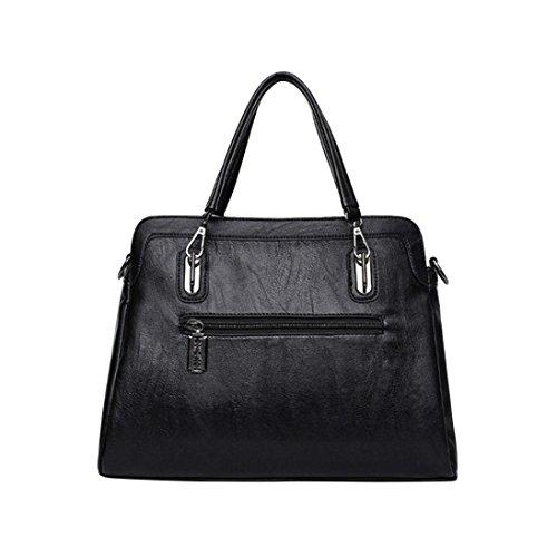 UPC 652115166845, Women Fashion Artificial Leather Totes Bags Handbag Large Solid Shoulder Bag Message Crossbody Bag (black)