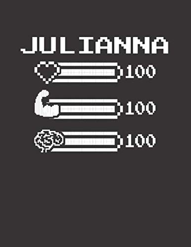 JULIANNA: Pixel Retro Game 8 Bit Design Blank Composition Notebook College Ruled, Name Personalized for Girls & Women. Gaming Desk Stuff for Gamer ... Gift. Birthday & Christmas Gift for Women.