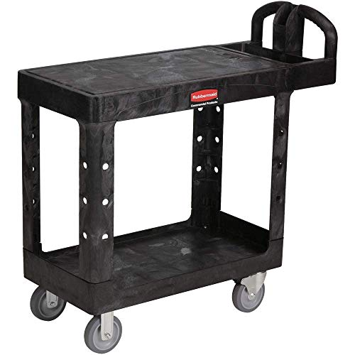 Rubbermaid FG450500 Black 500 lbs Capacity Utility Cart with Two Shelves ()