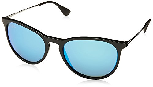 Ray-Ban ERIKA - BLACK Frame LIGHT GREEN MIRROR BLUE Lenses 54mm - Glasses Round Ban Ray Face