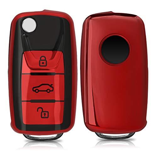 🥇 kwmobile Funda para Mando Compatible con VW Skoda Seat – Funda TPU Llave con Botones para Llave de 3 Botones para Coche VW Skoda Seat – Rojo Brillante/Negro Brillante