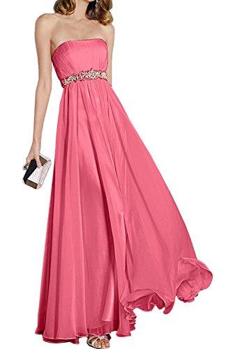 Partykleider Himmel am Steine Taille Abendkleider Wassermelon Ballkleider Braut La Blau Chiffon Festlichkleider Anmutig mit mia qfBw8a