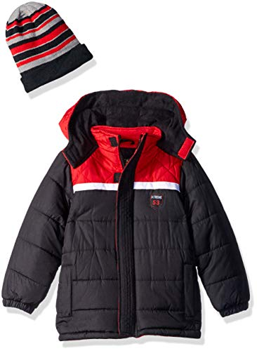 - iXtreme Boys' Toddler Diamond Quilted Puffer Jacket with Accessory, Black, 3T