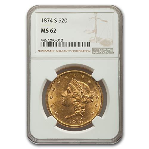 1874 S $20 Liberty Gold Double Eagle MS-62 NGC G$20 MS-62 NGC