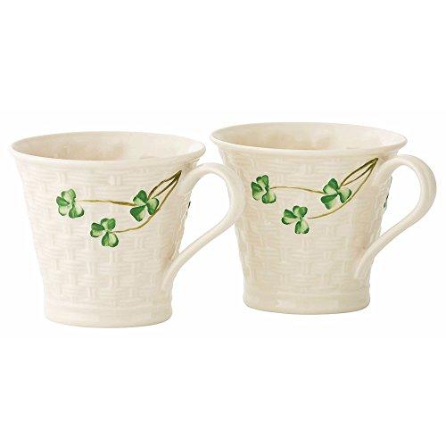 Belleek Classic Shamrock Basketweave Mugs (Set of 2)