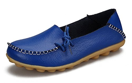 Auspicious beginning Ladies Comfy Work Leather Moccasins Loafers Flats Shoes Royalblue G7PPJD