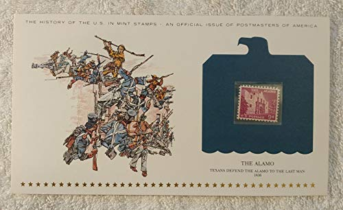 The Alamo - Texans Defend the Alamo to the Last Man - Postage Stamp (1956) & Art Panel - History of the United States: an official issue of Postmasters of America - Limited Edition, 1979 - Davy Crockett