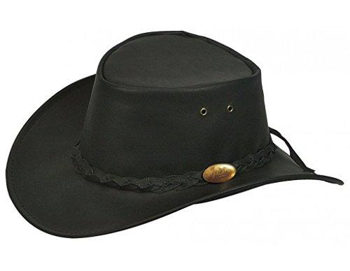 Jacaru Men's Jacaru Kangaroo Leather Outback Hat Black XX-Large