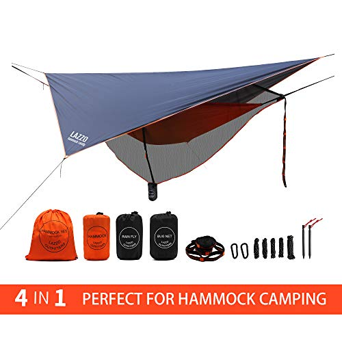 LAZZO Camping Hammock Set with Single Hammock,Mosquito Net, Rain Fly, 3 Foot Tree Straps, and Backpack,Perfect for Backpacking,Camping,Travel,Hiking & Yard (Orange, 9.2)